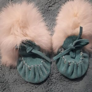 Baby blue and white  moccasins- infant